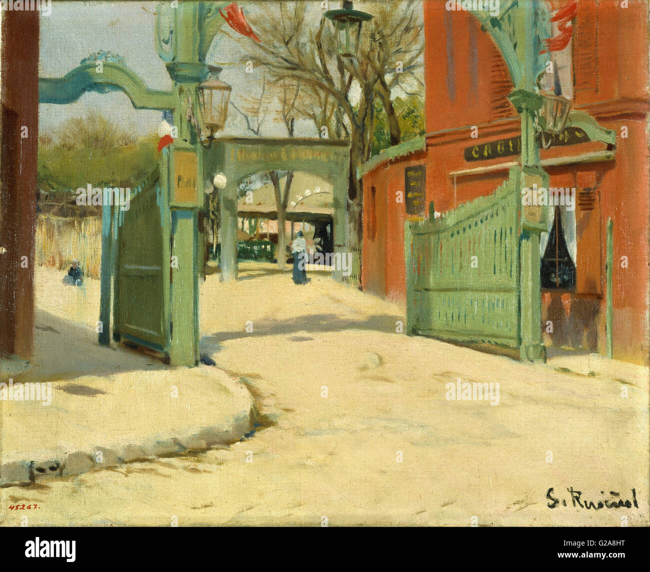 Santiago Rusiñol - Entrance to the Park of the Moulin de la Galette  - MNAC - Barcelona - Stock Image