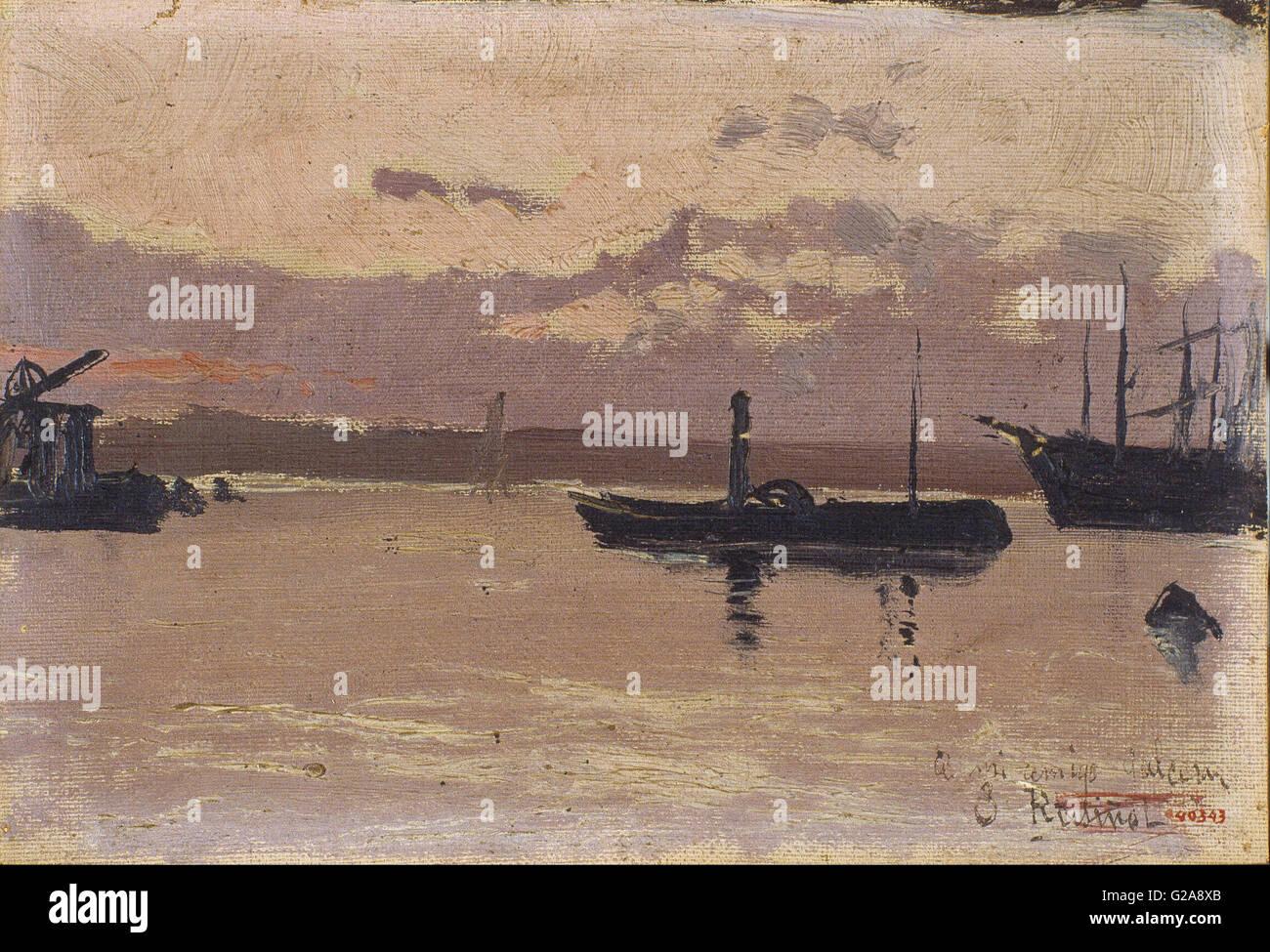 Santiago Rusiñol - Sketch of a Port  - MNAC - Barcelona Stock Photo