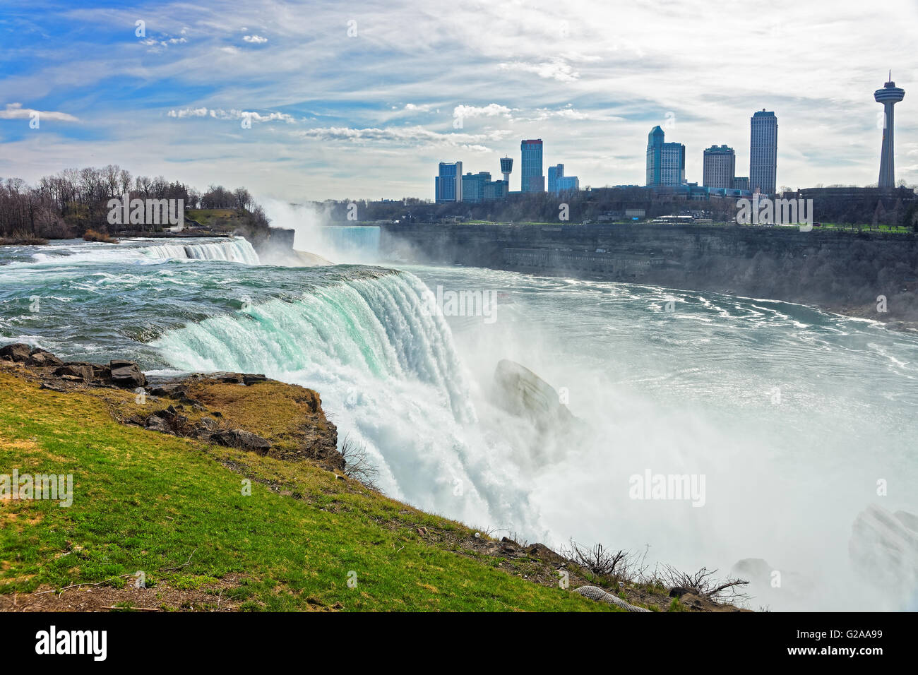 Niagara Falls From The American Side And Skyscrapers In Canada A Stock Photo Alamy