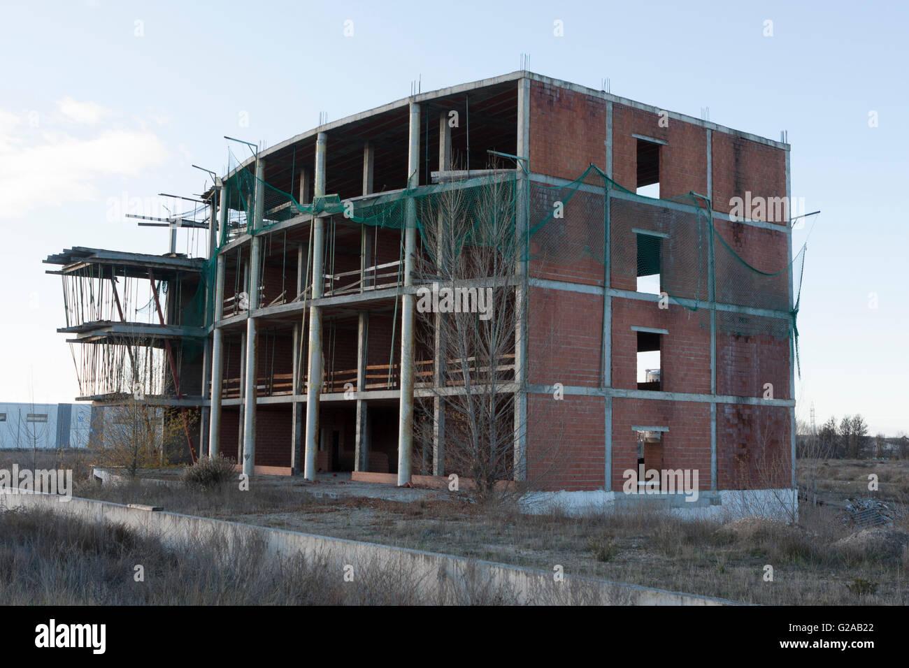 Building construction crisis in Aranda del Duero, Burgos. Spain - Stock Image