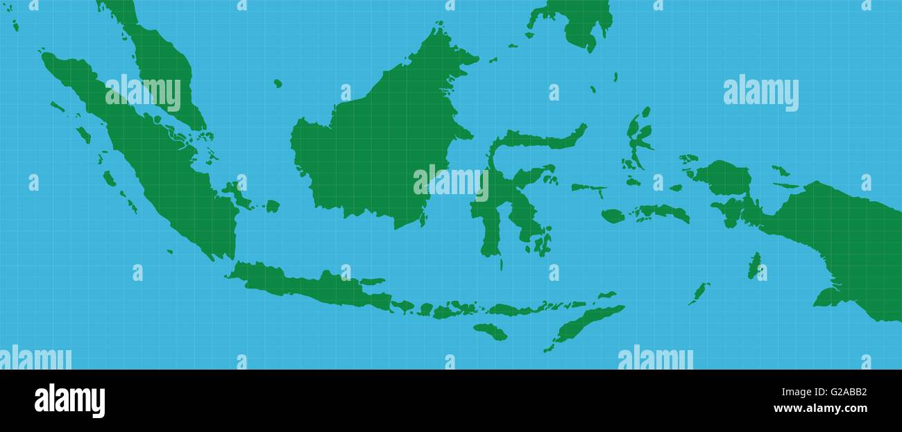 indonesia indonesian map with green and blue background - Stock Vector