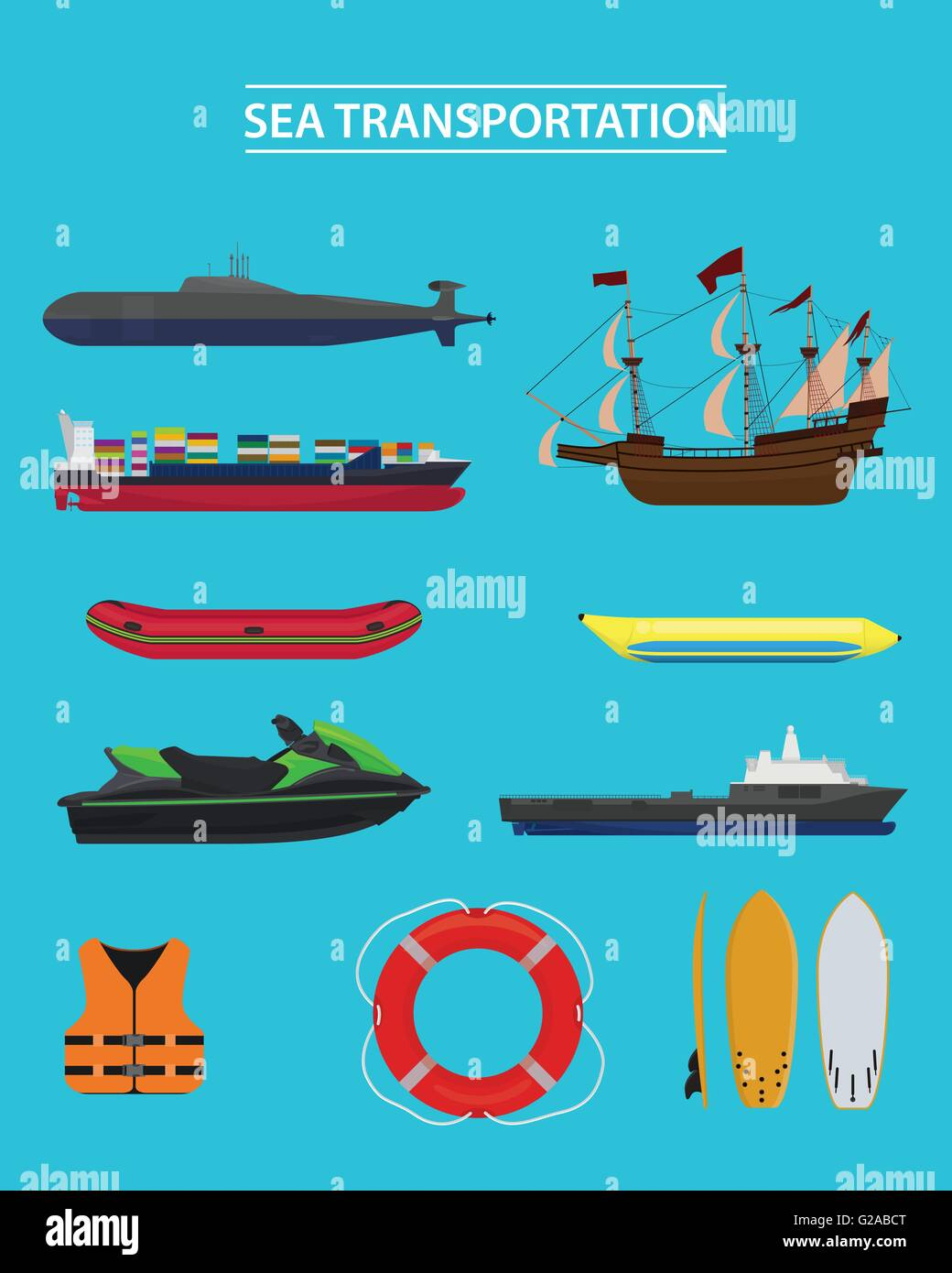 sea transportation collection vector graphic - Stock Image