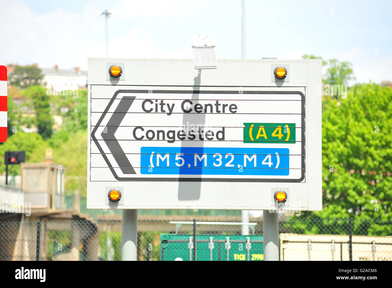 A road sign with Congested written on it in Bristol. - Stock Image