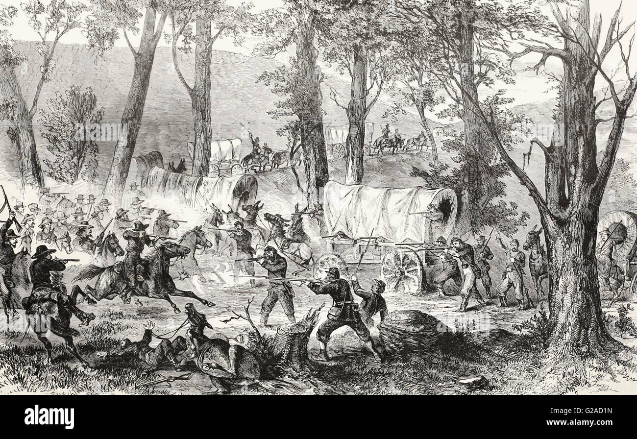 Confederate Cavalry attacking a Federal Supply Train near Jasper, Tennessee. USA Civil War - Stock Image