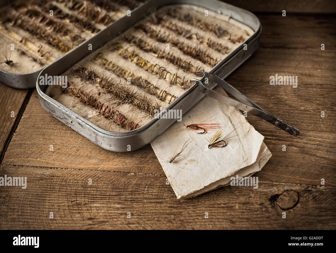 Fishing tackles in box - Stock Image