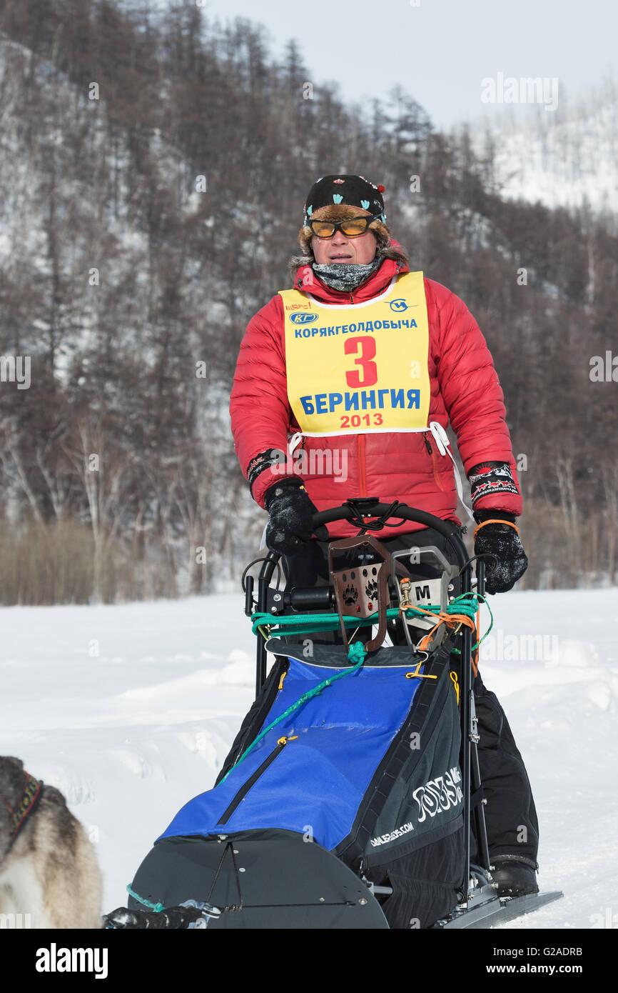 Portrait Kamchatka musher Andrey Semashkin. Kamchatka extreme Dog Sled Racing Beringia. Russian Federation, Far - Stock Image