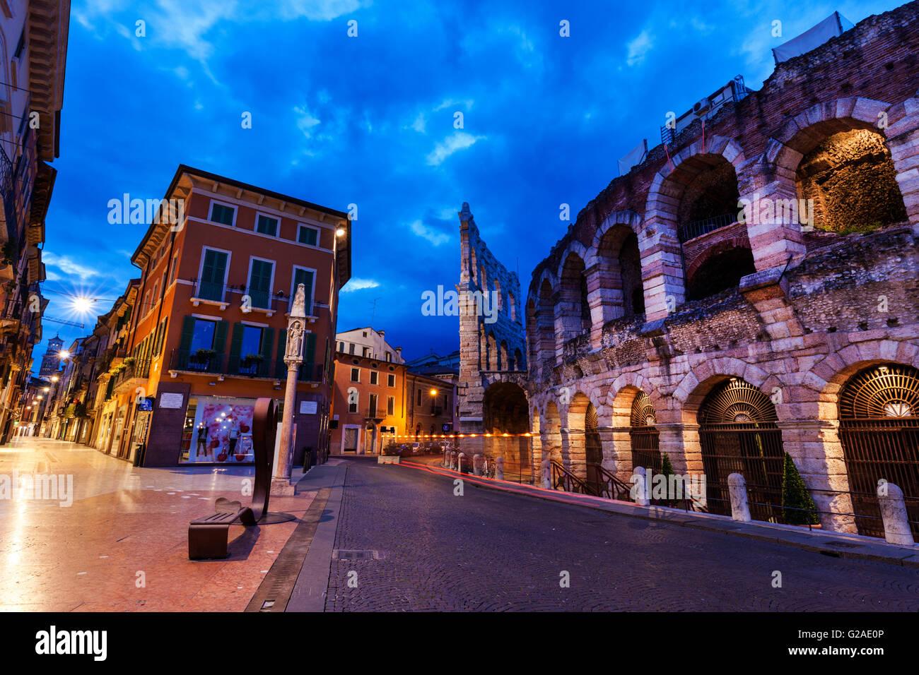 The Verona Arena on Piazza Bra in Verona Verona, Veneto, Italy Stock Photo