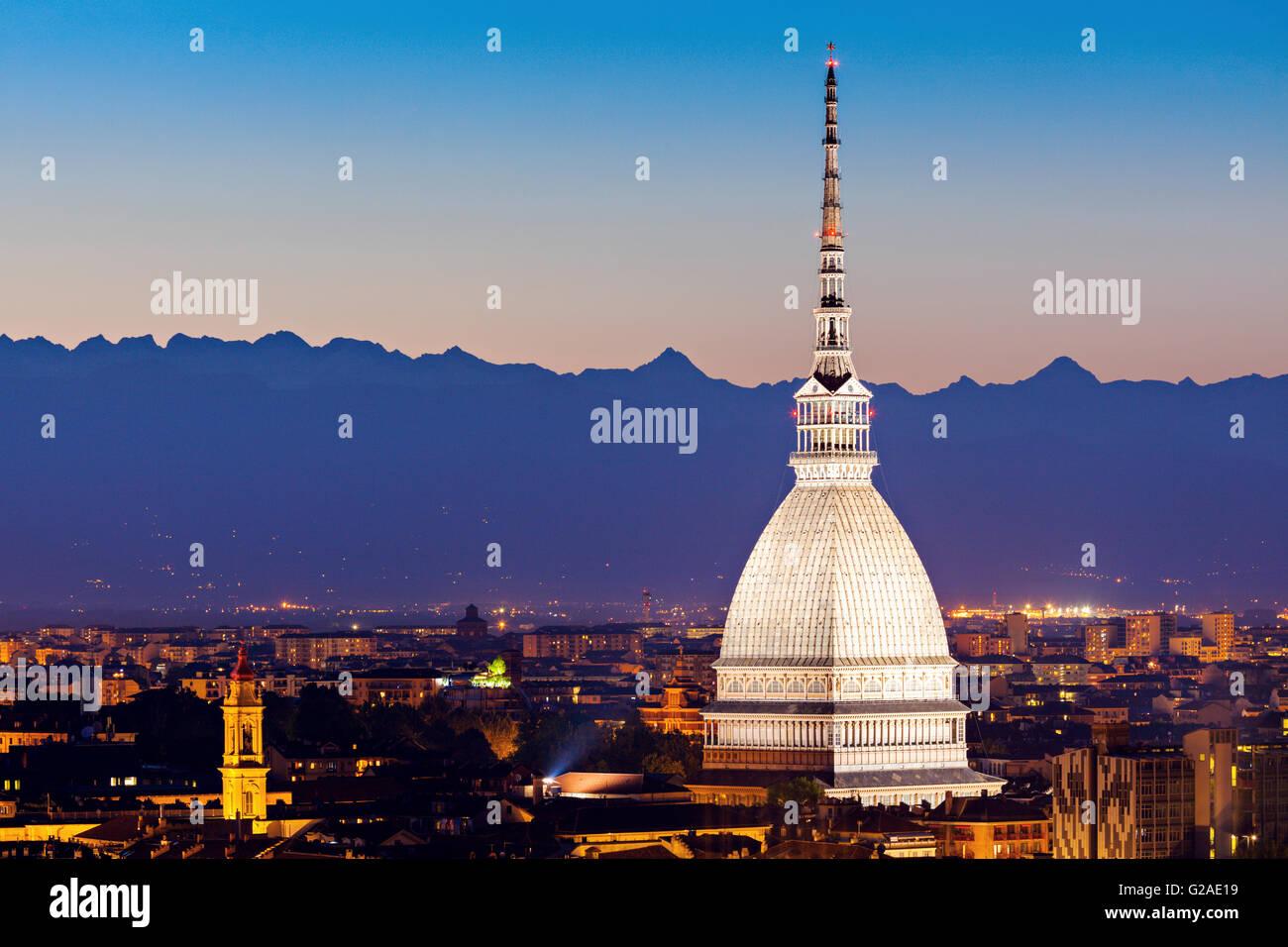 Skyline of Turin, Turin, Piedmont, Italy - Stock Image