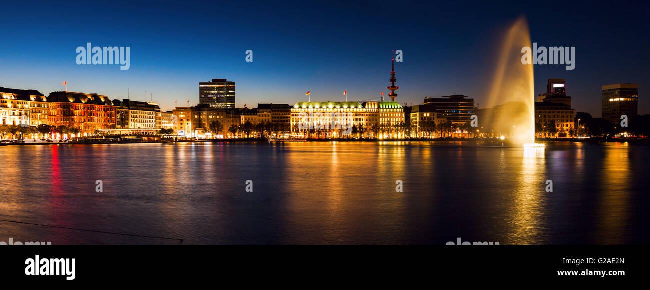 City architecture by Binnenalster in Hamburg Hamburg, Germany - Stock Image