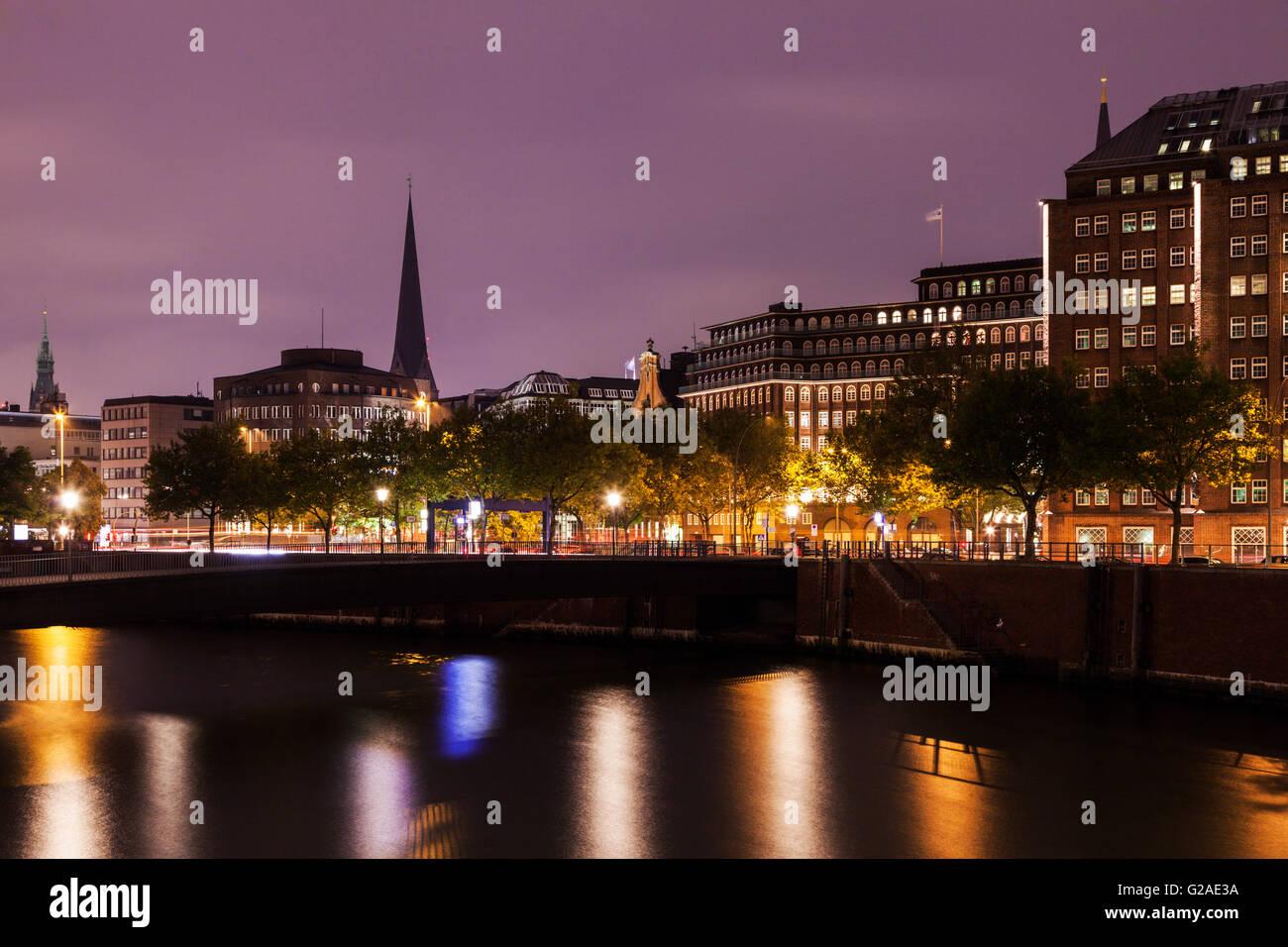Architecture of Hamburg at sunrise Hamburg, Germany - Stock Image