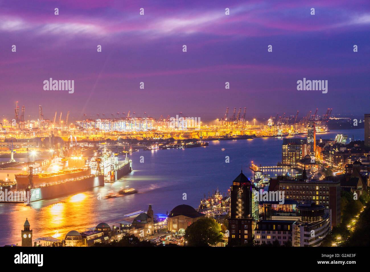 Port of Hamburg at sunset Hamburg, Germany - Stock Image