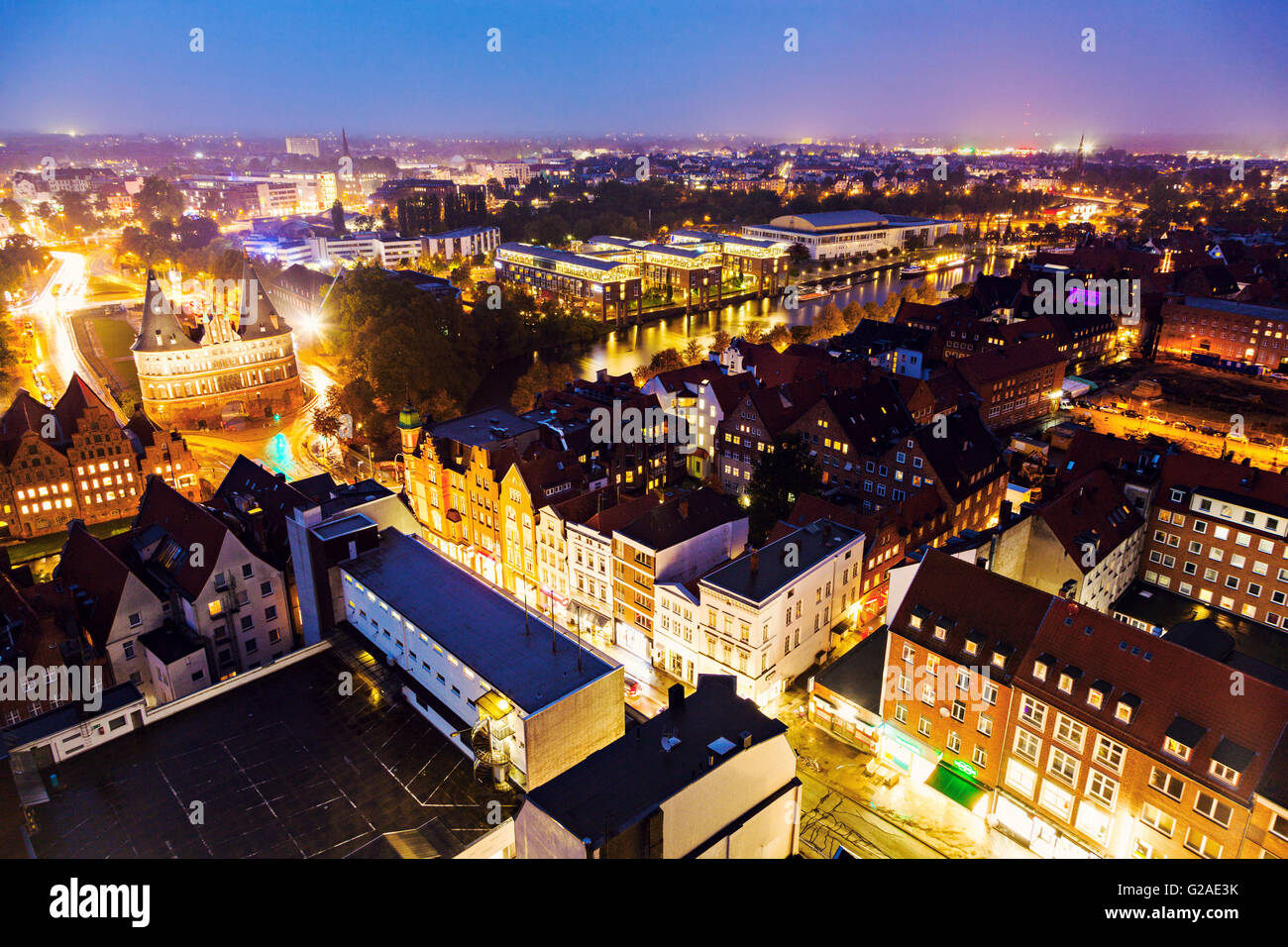 Aerial view of Lubeck Lubeck, Schleswig-Holstein, Germany - Stock Image