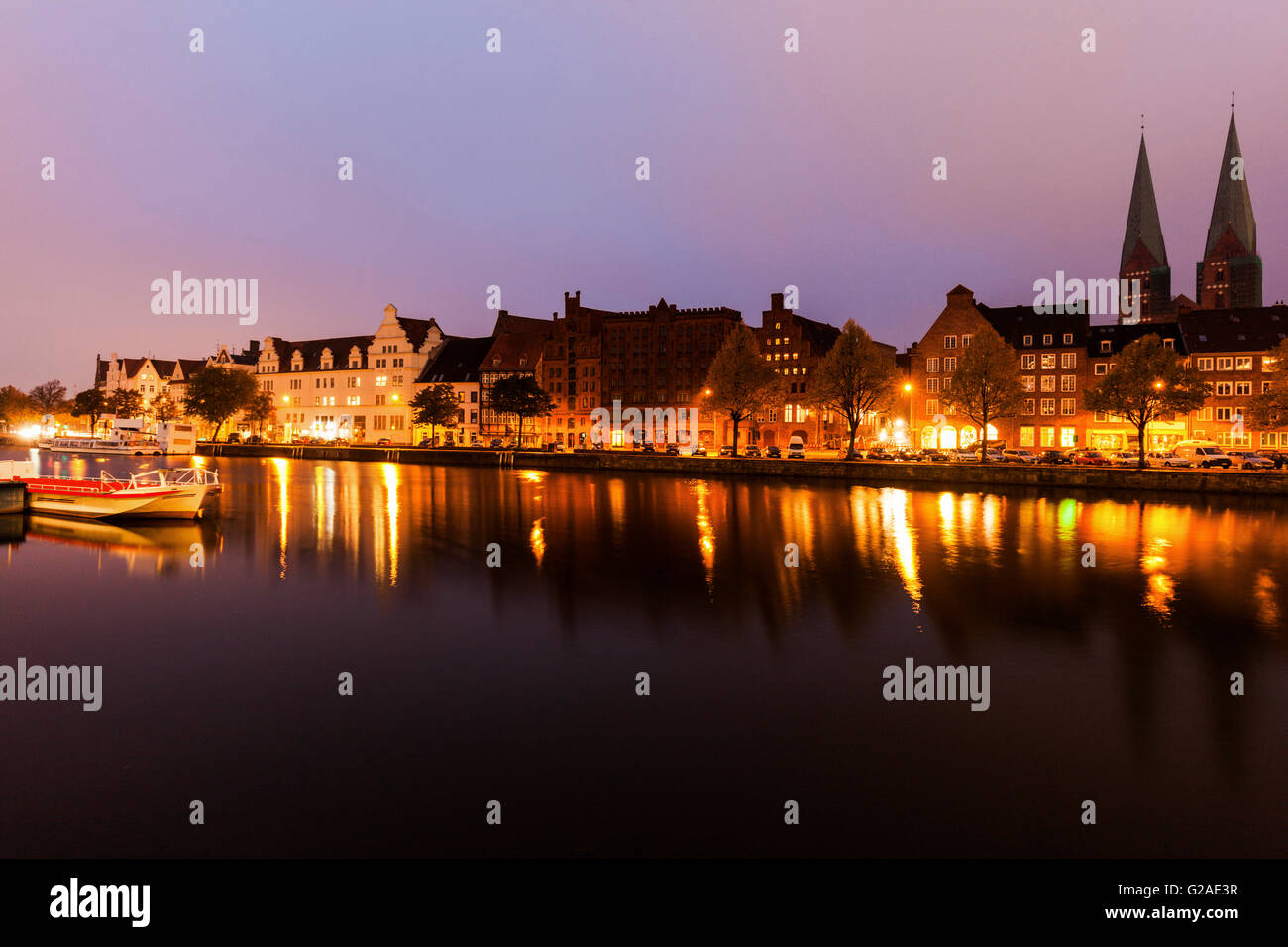 Architecture of Lubeck across Trave River Lubeck, Schleswig-Holstein, Germany - Stock Image