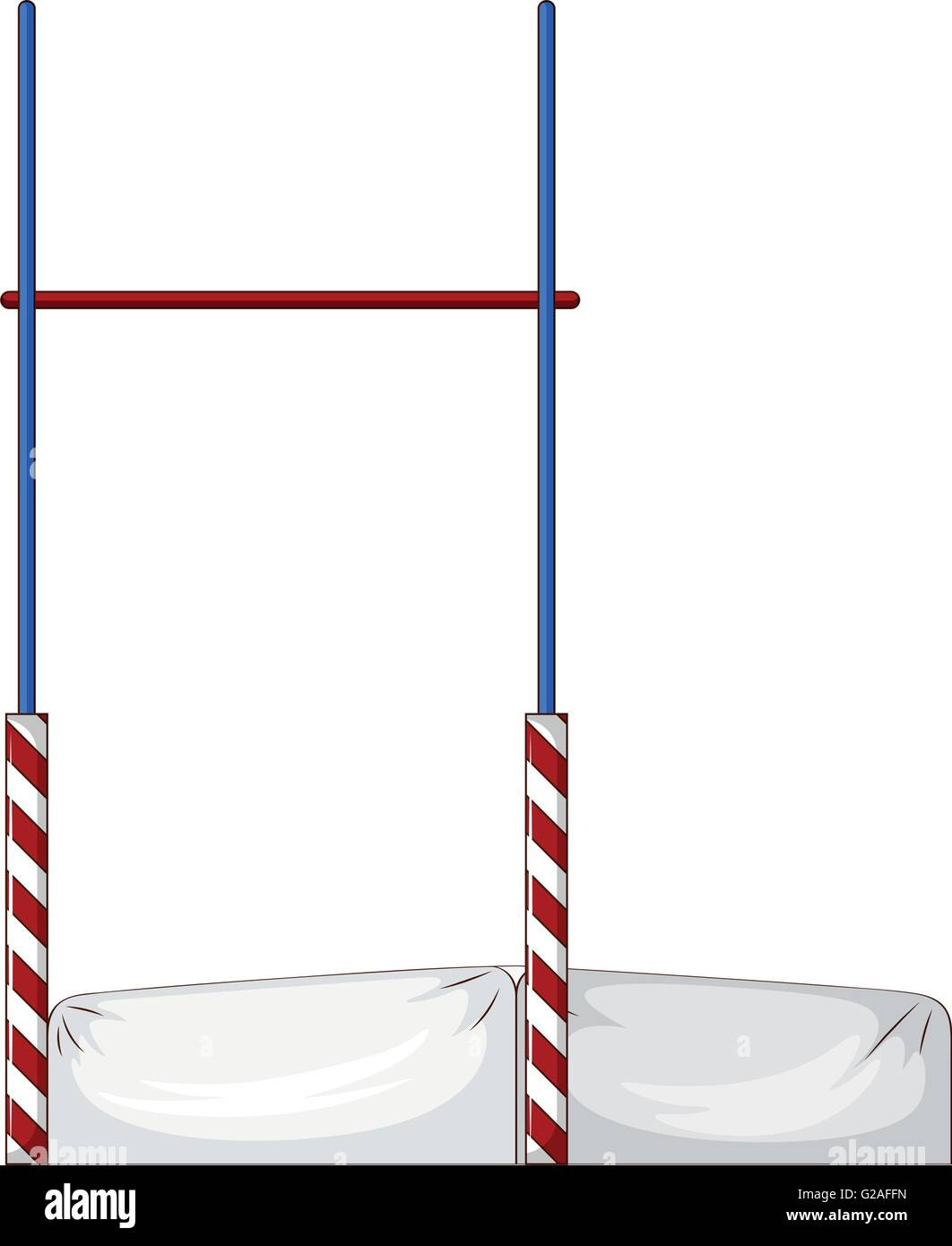 High jump pole and mattress illustration - Stock Vector
