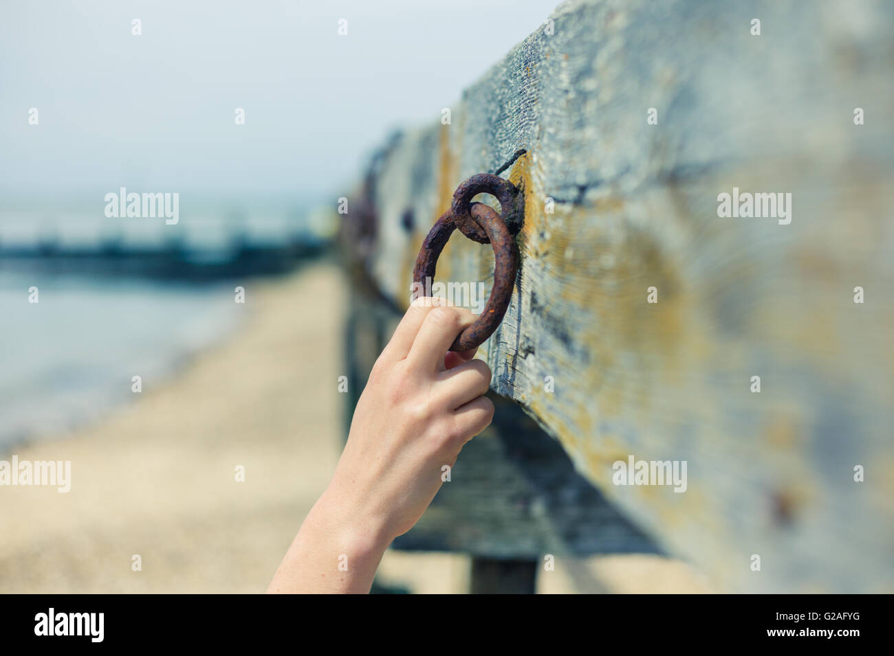 A young female hand is grabbing an old rusty chain attached to a wooden beam - Stock Image