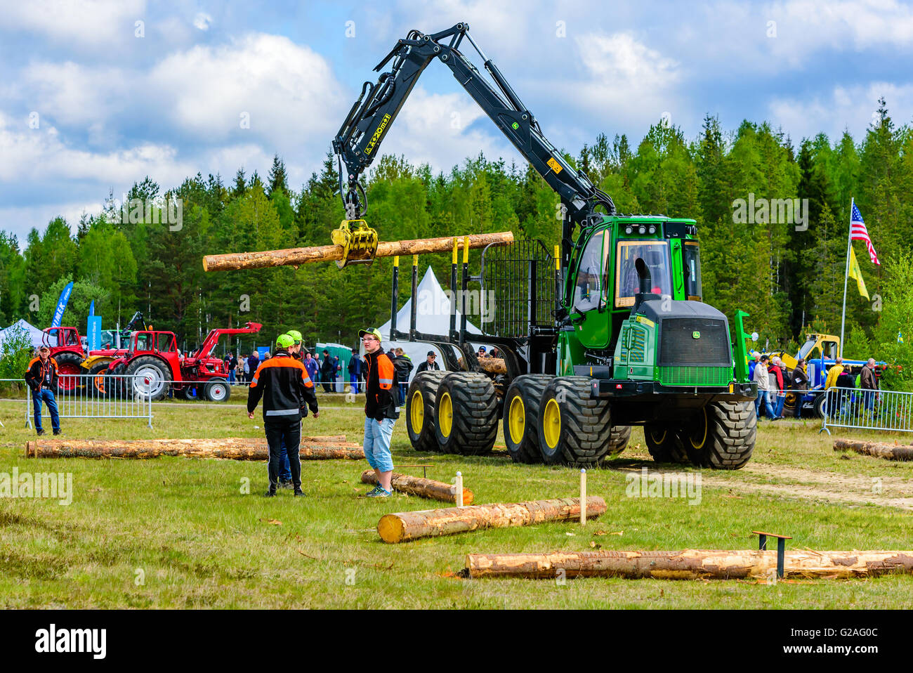 fe1cfd7b05e Emmaboda, Sweden - May 14, 2016: Forest and tractor (Skog och traktor)  fair. John Deere 1110E forwarder used in driving competit