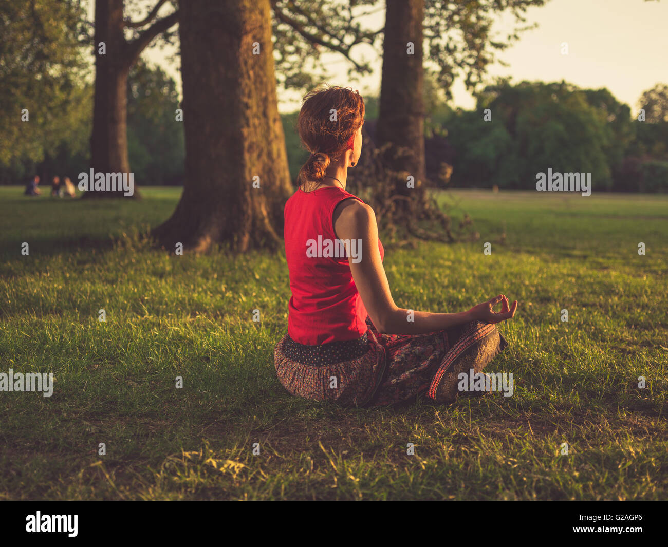 A young woman is sitting on the grass in a park and is meditating at sunset - Stock Image