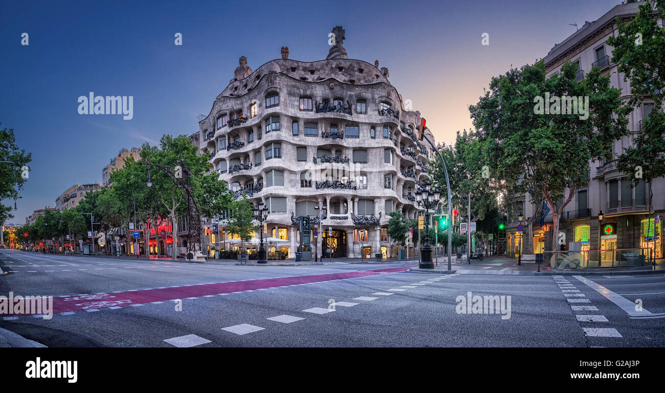 Casa Mila, La Pedrera, Barcelona, Catalonia, Spain - Stock Image