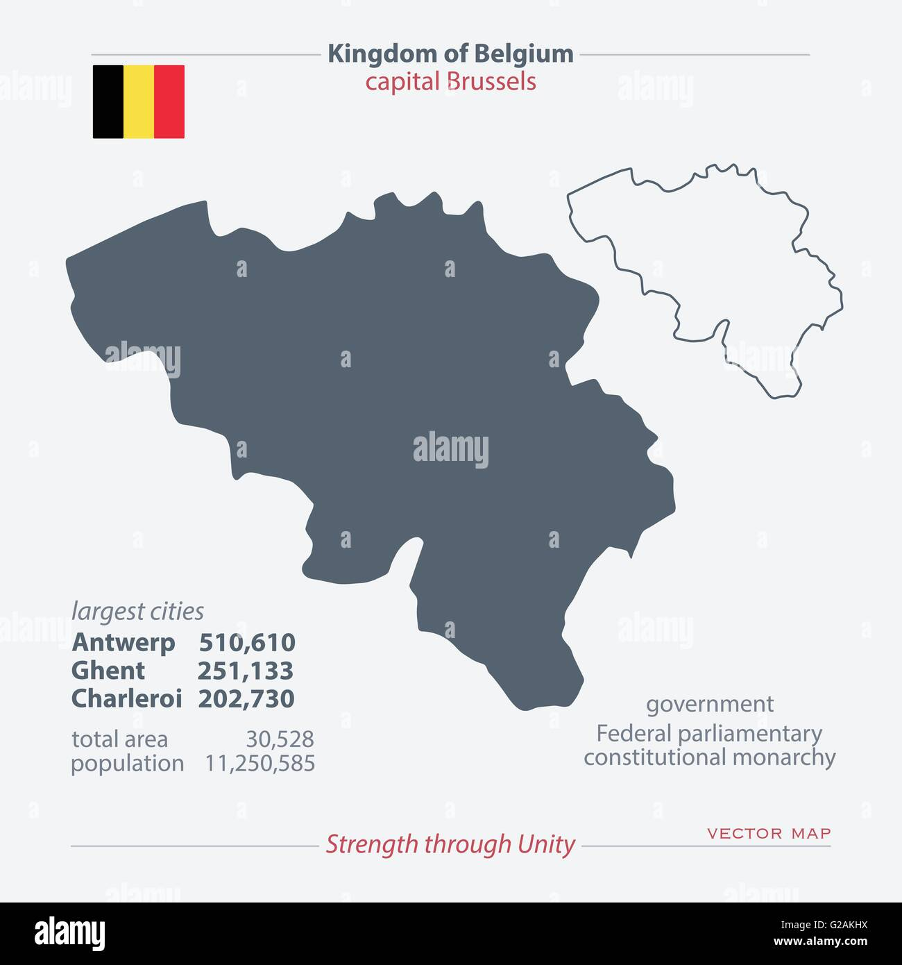 kingdom of belgium isolated maps and official flag icon vector belgian political map icons with general information europe uni