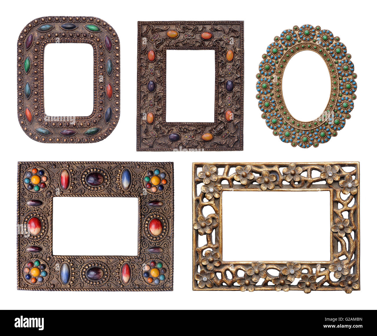 Five ornamental metal picture frames pack of different sizes Stock ...