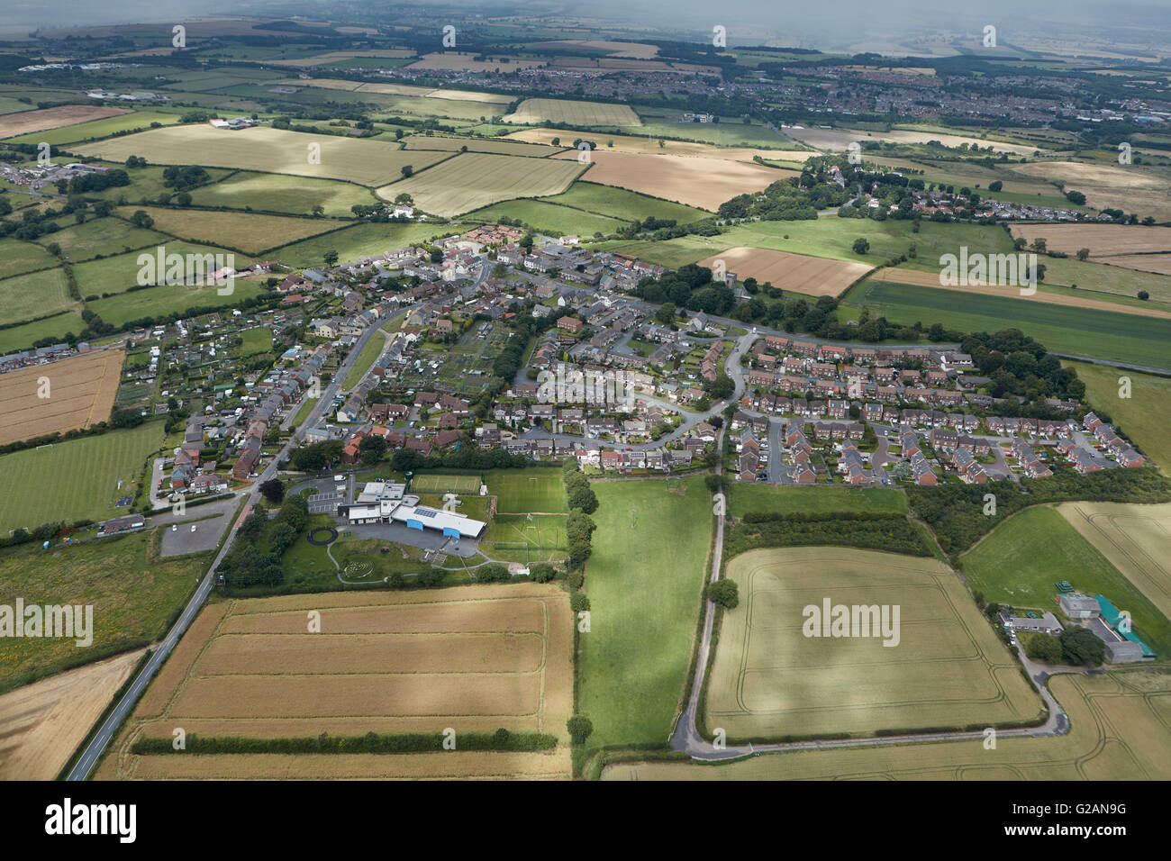 An aerial view of the Durham village of Kirk Merrington - Stock Image