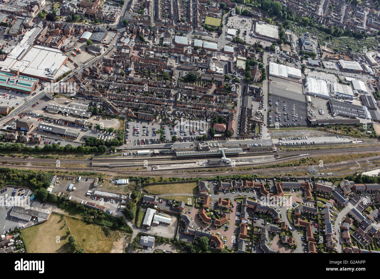 An aerial view of the Railway Station and immediate surroundings in Grantham, Lincolnshire - Stock Image