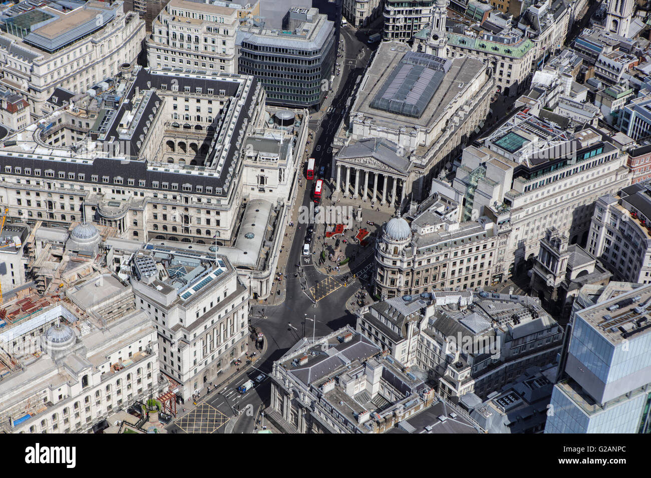 An aerial view of the immediate vicinity of Bank Underground station in London - Stock Image