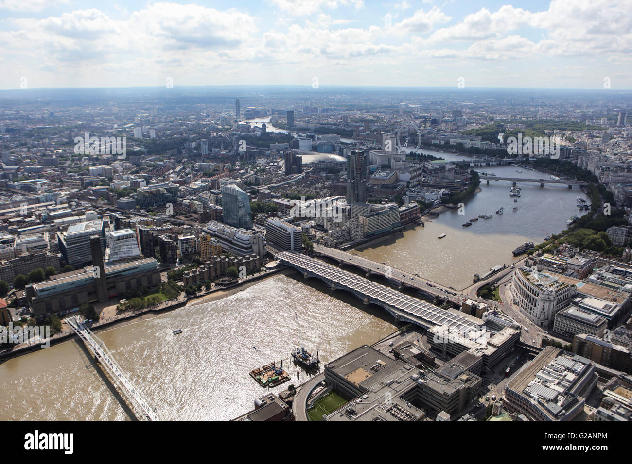 An aerial view of London looking from Blackfriars Bridge towards Westminster - Stock Image