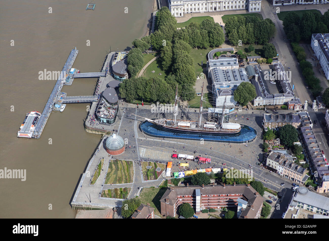An aerial view of the Cutty Sark a tea clipper and now tourist attraction in Greenwich, London Stock Photo