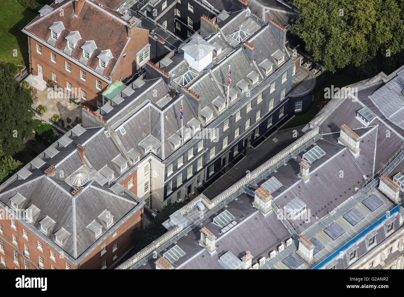 An aerial view of Downing Street in Whitehall, London - Stock Image