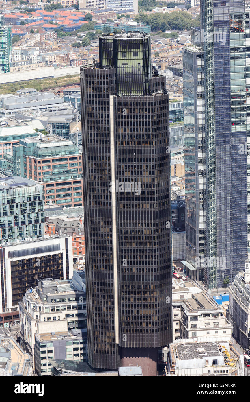 An aerial view of Tower 42 in Central London, formerly known as the Natwest Tower - Stock Image