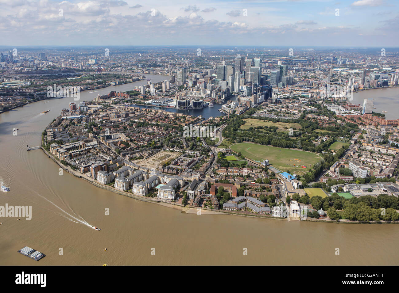 An aerial view of the Isle of Dogs from the South - Stock Image