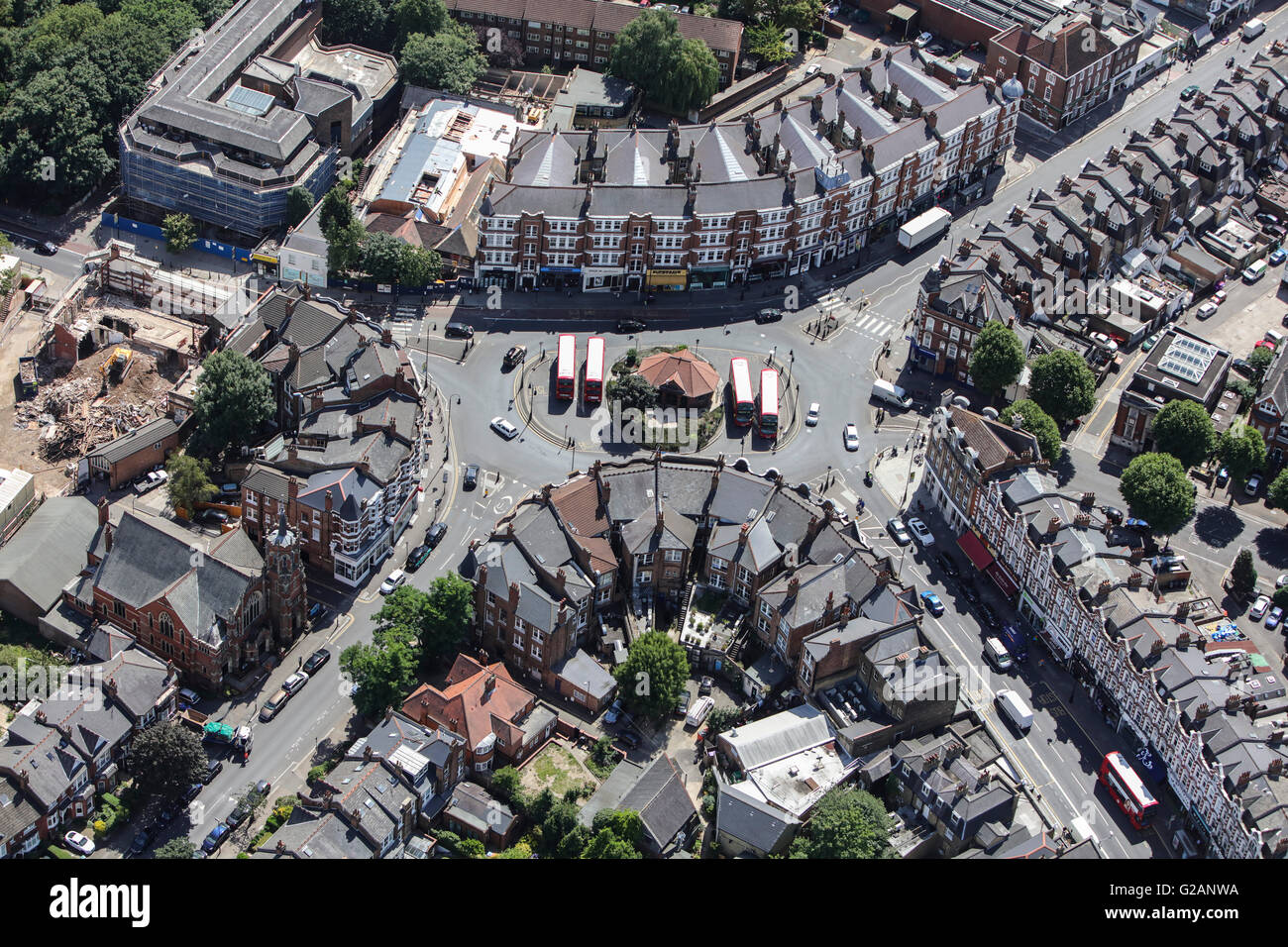 An aerial view of Muswell Hill, a suburb of North London - Stock Image