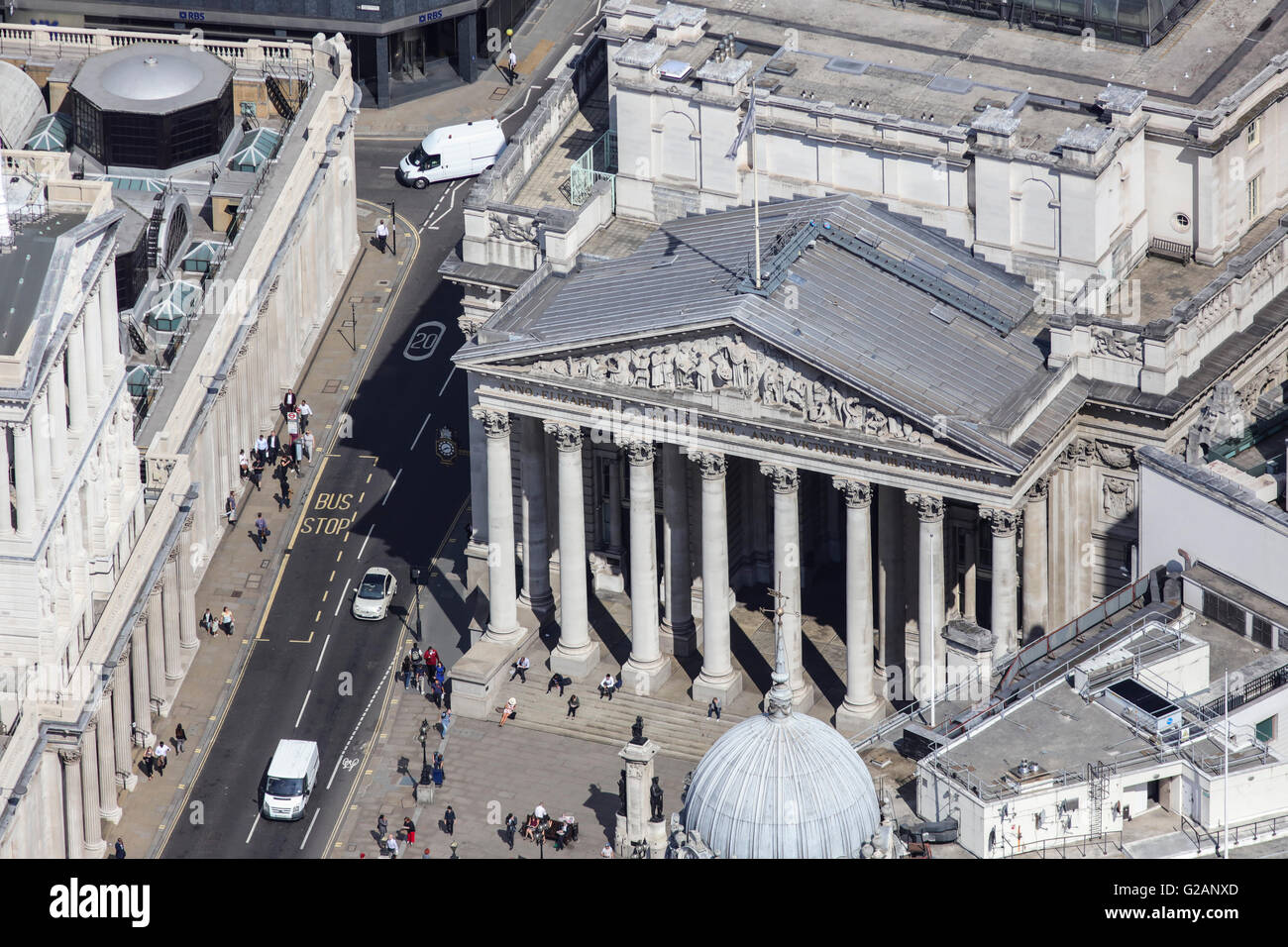 An aerial view of the Royal Exchange in London, formerly occupied by Lloyds but now a shopping venue - Stock Image