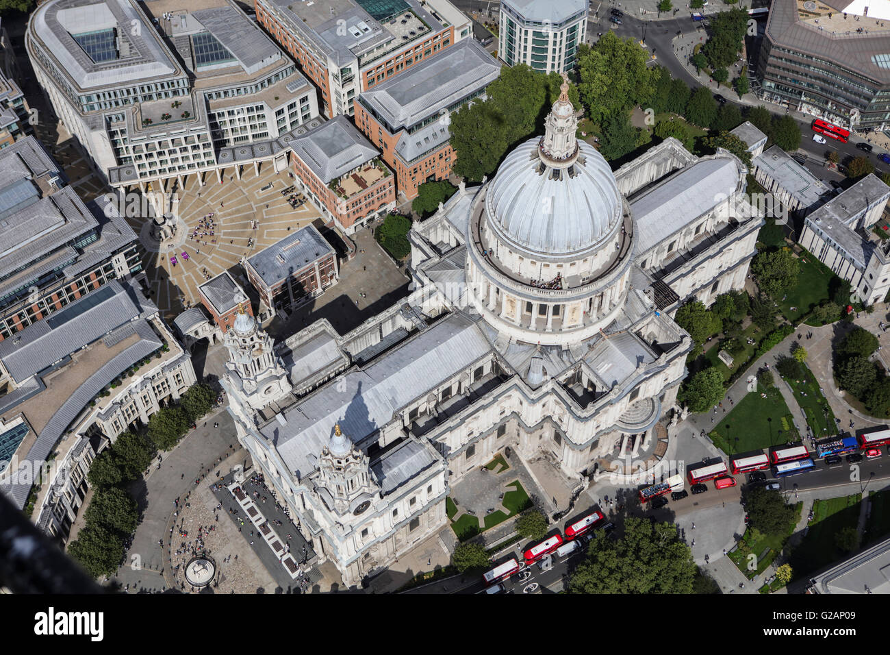 An aerial view of St Pauls Cathedral, London - Stock Image
