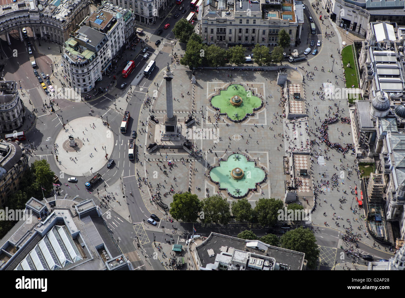 An aerial view of Trafalgar Square in London - Stock Image
