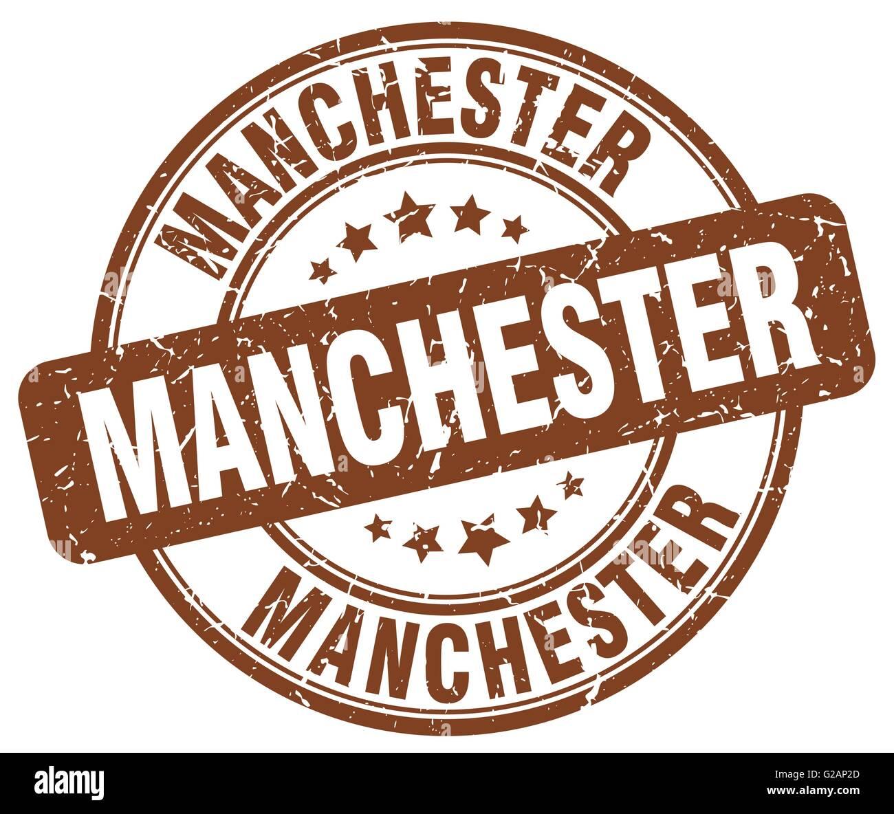 Manchester Brown Grunge Round Vintage Rubber Stamp