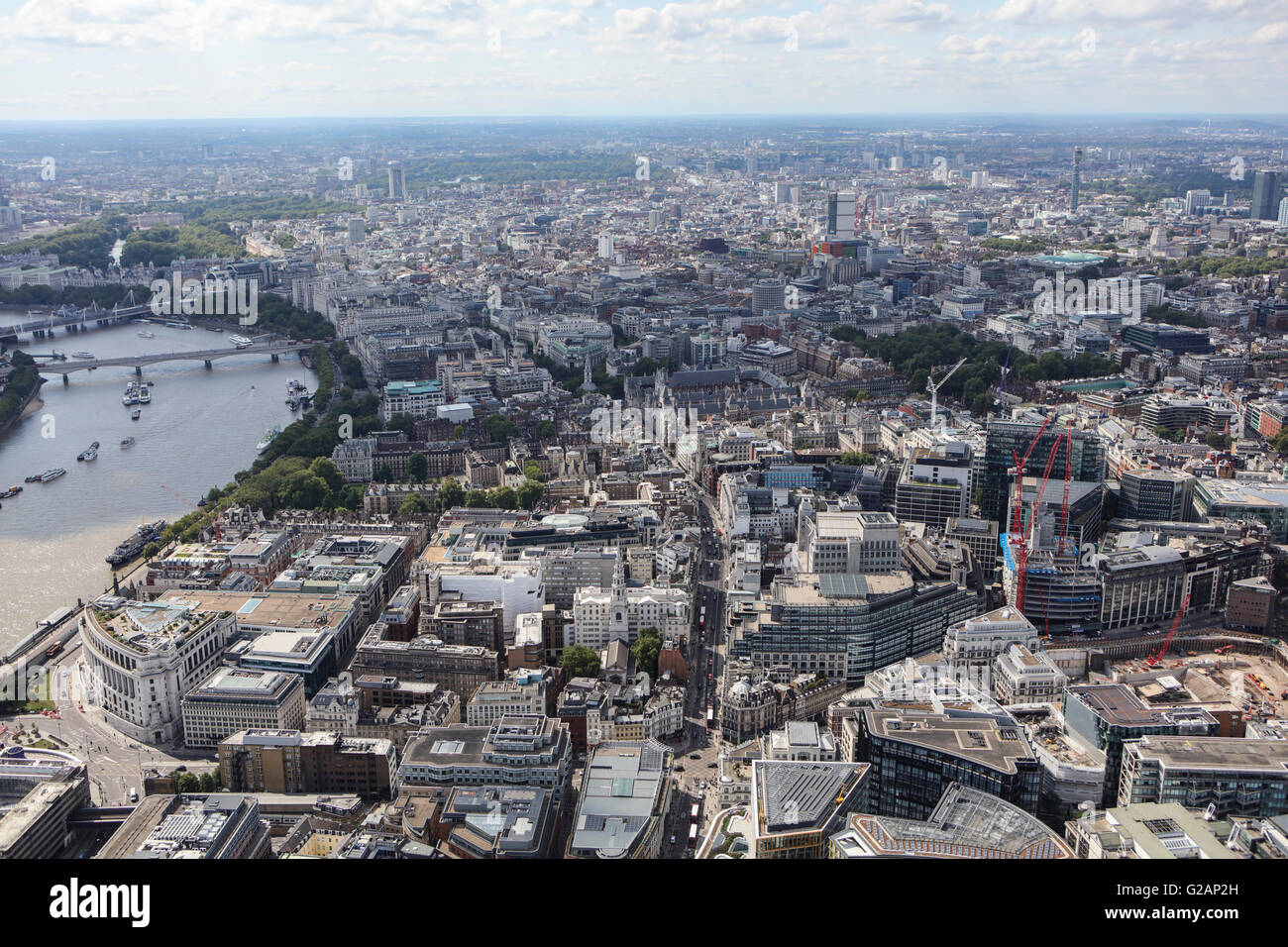 An aerial view of Central London looking from the area of the Old Bailey towards the West Stock Photo