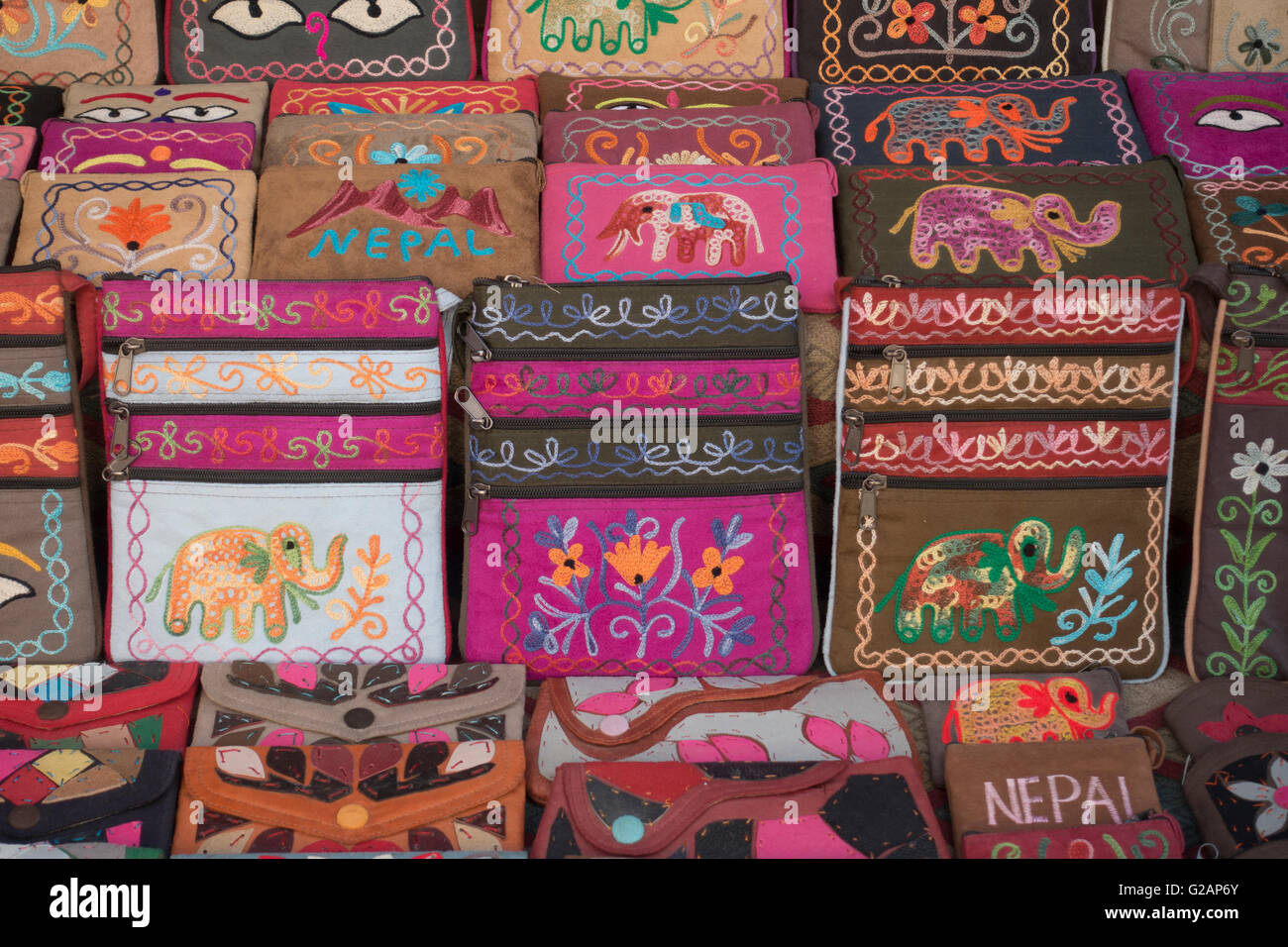 Close up of cloth purses for sale in Thamel District, Kathmandu, Nepal - Stock Image
