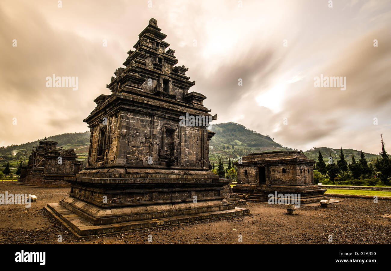 Indonesian Historical Temple, Candi Arjuna, Dieng - Stock Image