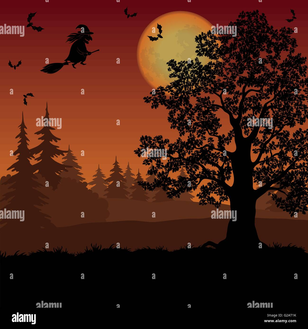 Halloween landscape with witch and trees Stock Vector
