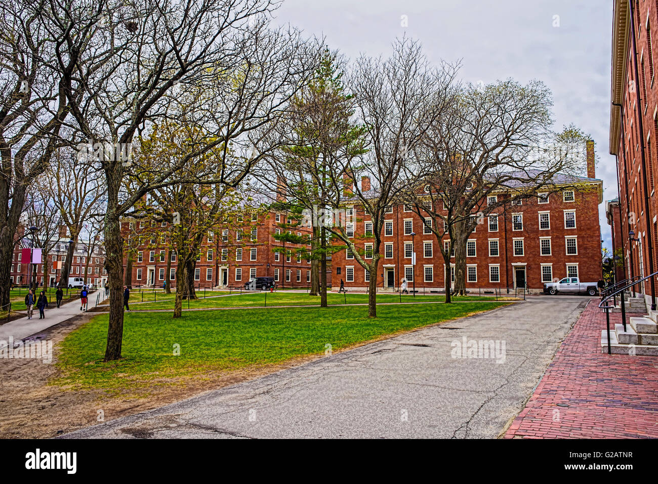 Cambridge, USA - April 29, 2015: Hollis Hall and Stoughton Hall at Harvard Yard of Harvard University, Massachusetts, - Stock Image