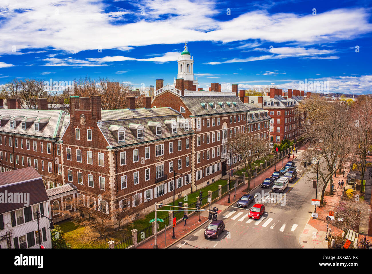Aerial view on John Kennedy Street in the Harvard University Area in Cambridge, Massachusetts, the USA. Eliot House - Stock Image