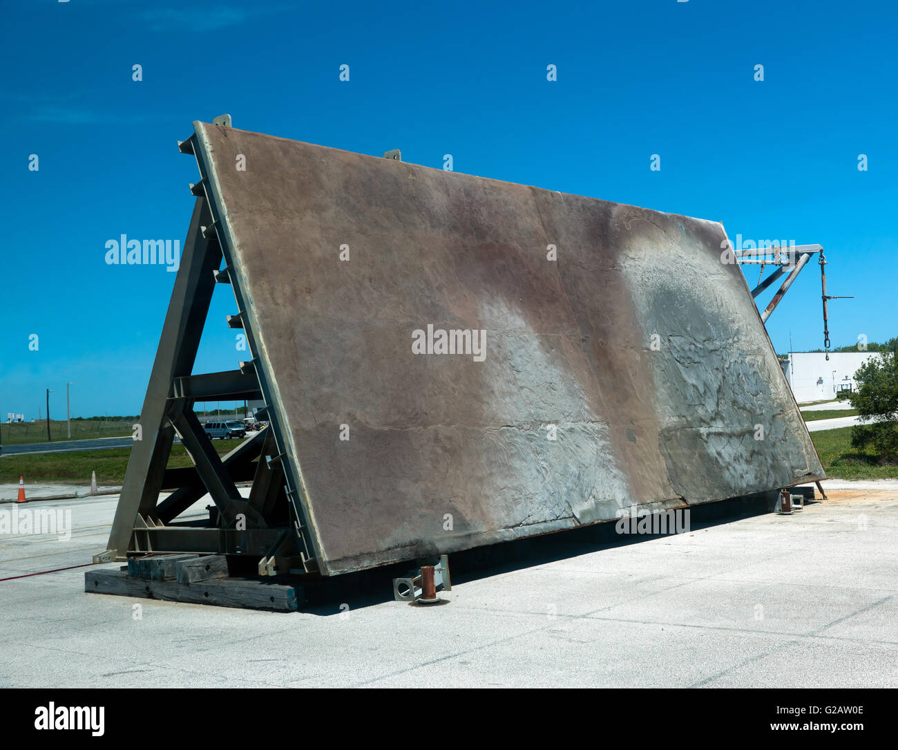 An Old Launch Pad Flame deflector at NASA's Kennedy Space Centre. - Stock Image