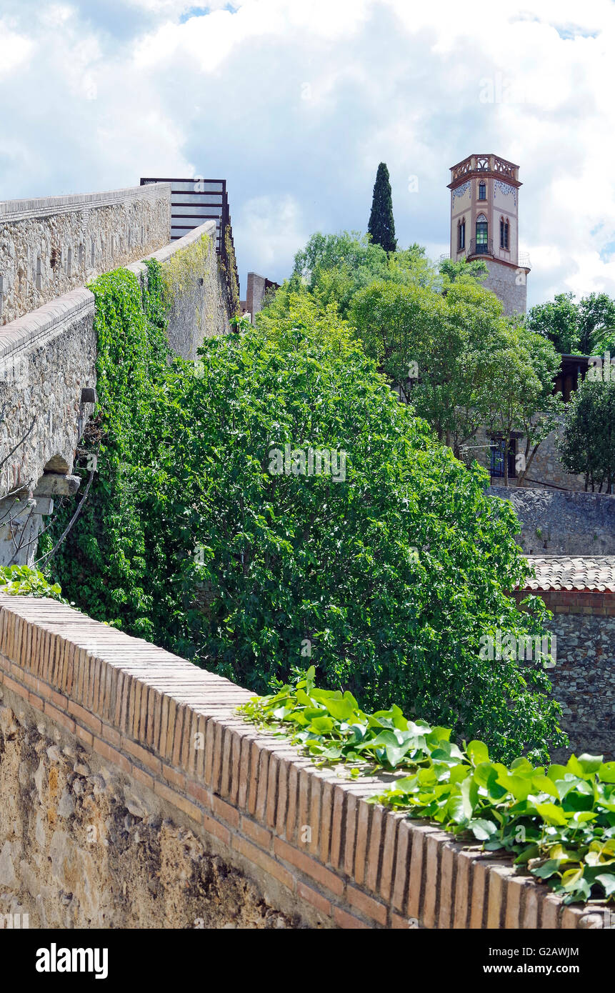 Girona, Spain, Ancient city walls, fortifications - Stock Image