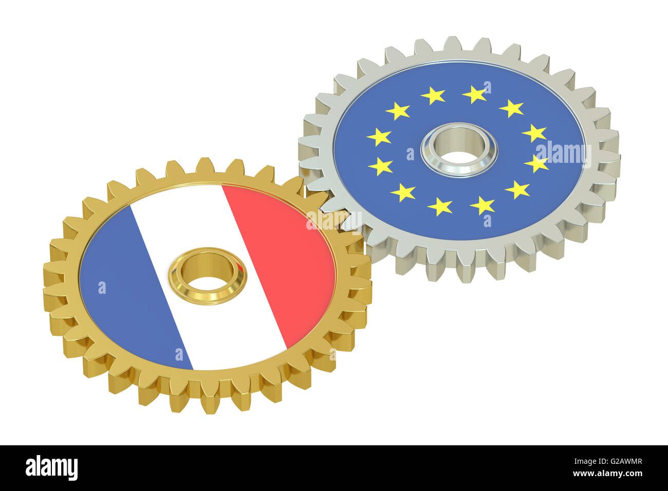 France and EU flags on a gears, 3D rendering isolated on white background - Stock Image