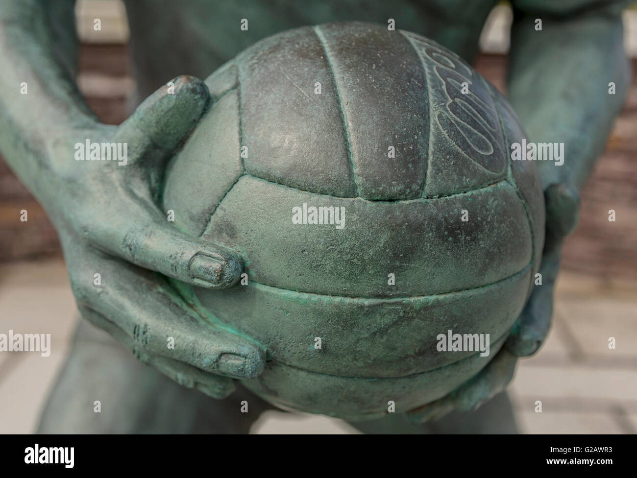 Detail of the bronze statue of Mick O'Dwyer, a famous Gaelic footballer, Waterville, County Kerry, Munster Province, - Stock Image