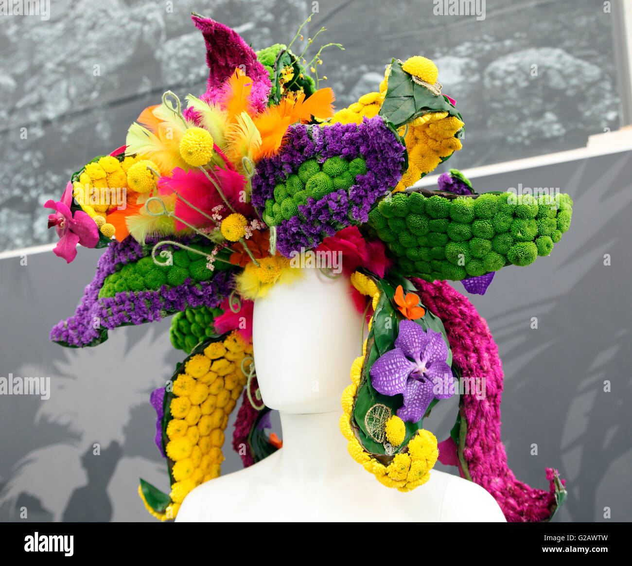 Fantasy floral headgear in the Great Pavilion, RHS Chelsea Flower Show 2016 - Stock Image