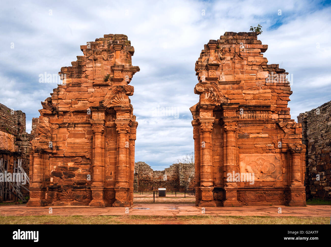 San Ignacio-Mini mission founded in 1632 by the Jesuits, Misiones Province, Argentina - Stock Image