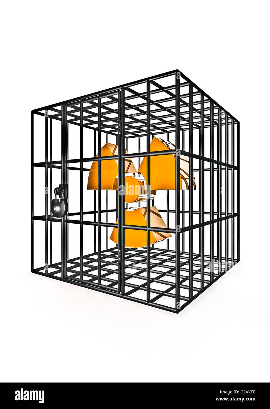 Caged nuclear / 3D render of nuclear energy symbol in metal cage - Stock Image